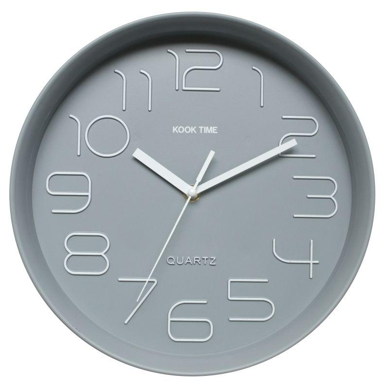 Reloj pared retro redondo gris for Reloj pared retro