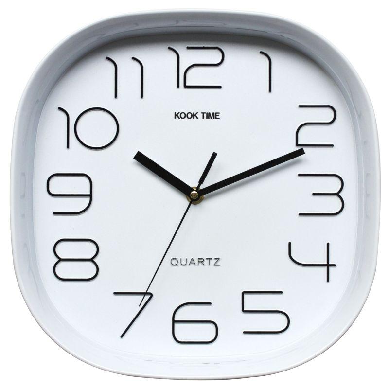 Reloj pared retro cuadrado blanco for Reloj pared retro
